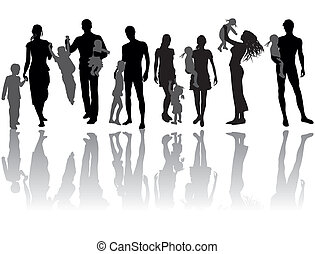 Family - Silhouettes of woman, man, children, family, icon...