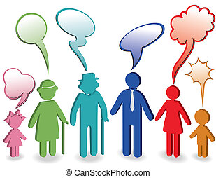 Family with speech bubbles - Community, people chat, family...