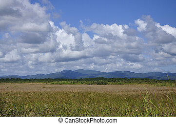 View of the Maya mountains as seen from Hopkins Village in...