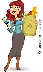 woman with health food package - woman with the health food...