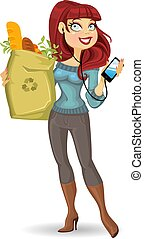 woman with the health food package and phone