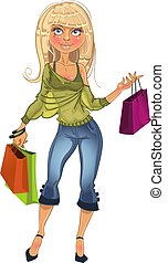 Shopping glamur girl - pretty blond shopping glamur girl