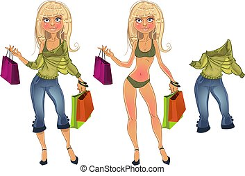 shopping blond with clothe