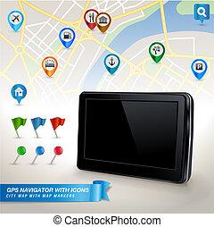 GPS navigator and icons - GPS navigator with city map and...