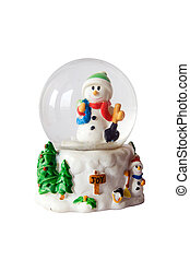 Snowman inside snowglobe over white
