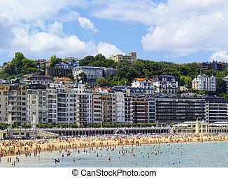 Beach, San SebastianDonostia, Spain - photo was taken during...