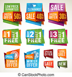 Set of sale labels and banners - Set of vector labels and...