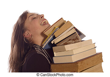 Happy student girl - Young student girl with her books on...