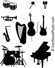 Musical instrument silhouettes - vector