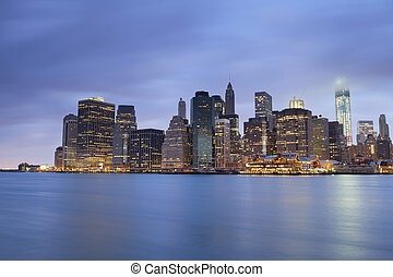 Lower Manhattan. - Image of Lower Manhattan at twilight blue...