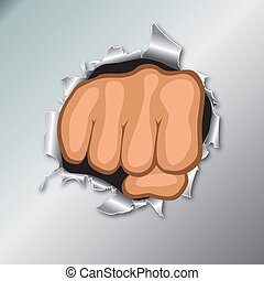 Clenched fist hand. Gesture vector. Cartoon punch, strong,...