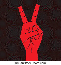 Hand - victory sign isolated on seamless background Two...