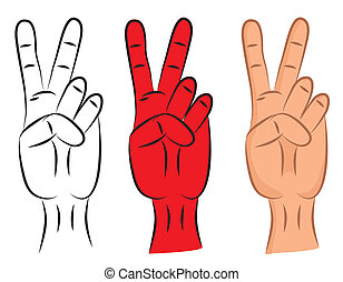 Hand - victory sign isolated on seamless background. Two...