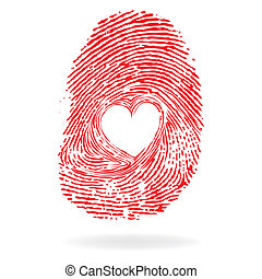 Vector heart, man or woman fingerprint valentine romantic...