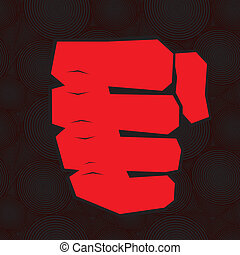 Clenched fist hand - Red clenched fist hand vector. Victory,...