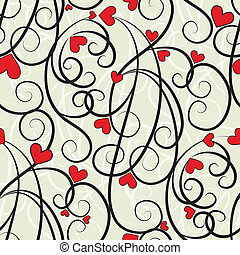 Wave floral heart seamless background. Summer curl, swirl...