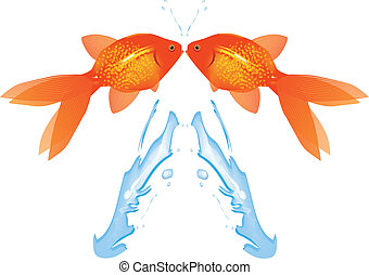 Goldfish Leaping,Vector - Two Goldfish leaping out of water,...