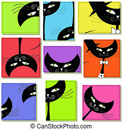 Nine icons with cats - Nine icons with black cats