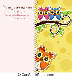 Postcard from the owls on a branch