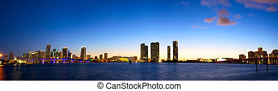 Downtown Miami panorama - Panoramic view of Miami skyline...