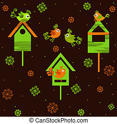 Birds with birdhouses on a brown background with flowers