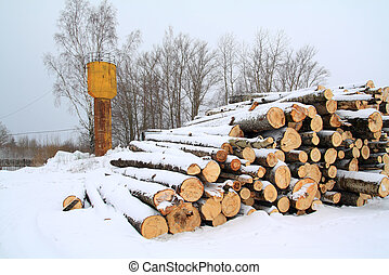 heap firewood on winter snow