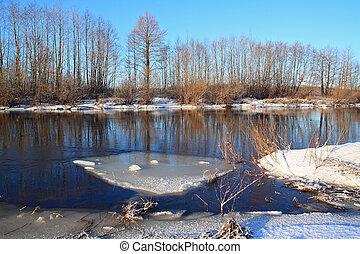 white ice on autumn river