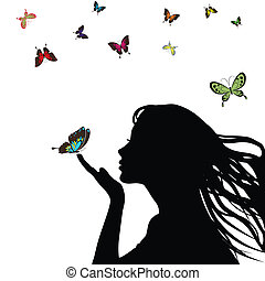 Woman silhouette girl with colorful butterfly on white...