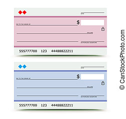 bank check - illustration of bank check in two variations -...