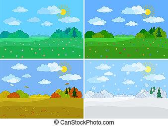 Set forest landscapes, seasons: spring, summer, autumn,...