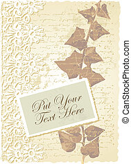 romantic card with ivy - vector editable and scalable...