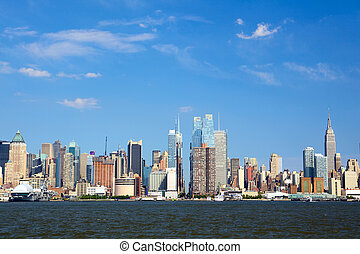 New York City skyline - Manhattan skyline looking east along...
