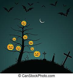 Halloween background with bats, pumpkins