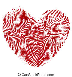Lip print heart - Vector heart, man and woman fingerprint...