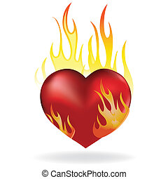 Heart in fire - Heart love in fire icon tattoo. Valentine...