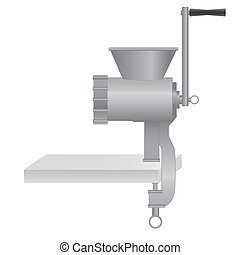 Metallic classic meat grinder / chopper on table. Vector...