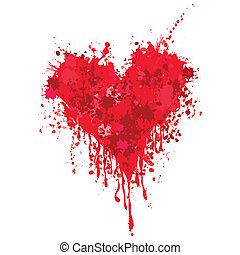 Heart with blood - Grunge heart ink blood vector. Love...