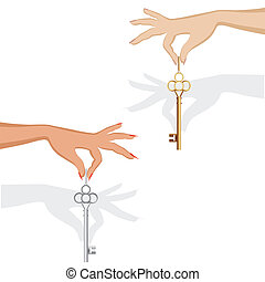 Set of silhouette female hand hold metal key for an auto or...