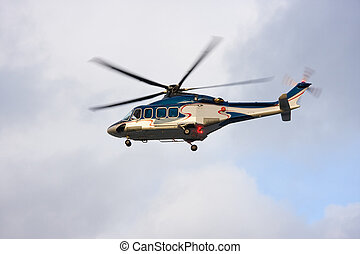 Helicopter in the air - A photo of passenger helicopter just...