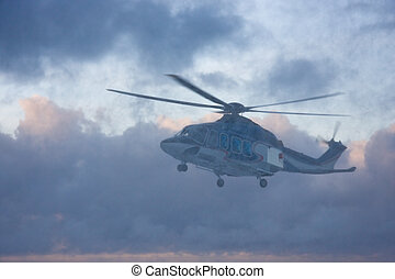 Helicopter in snow storm - Passenger helicopter in the snow...