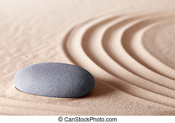 zen meditation stone conceptual Japanese garden referring to...