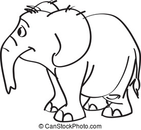 Cheerful elephant line art