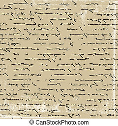 aging manuscript on brown paper, vector illustration