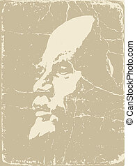 Lenin silhouette on brown background, vector illustration