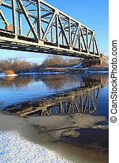 ferrocarril, Puente, por, pequeño, río