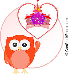 background with owl and cute castle in love heart