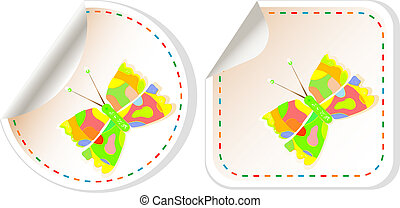 butterfly icon set isolated on white, vector