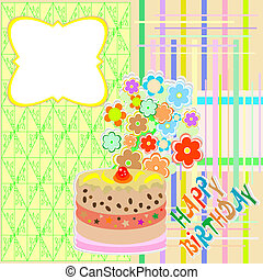 happy birthday greeting card - flower and cupcake