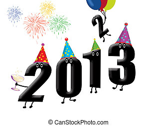 Funny 2013 New Year's Eve background, vector illustration