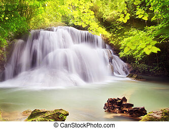 Second level of Huai Mae Kamin Waterfall in Kanchanaburi...
